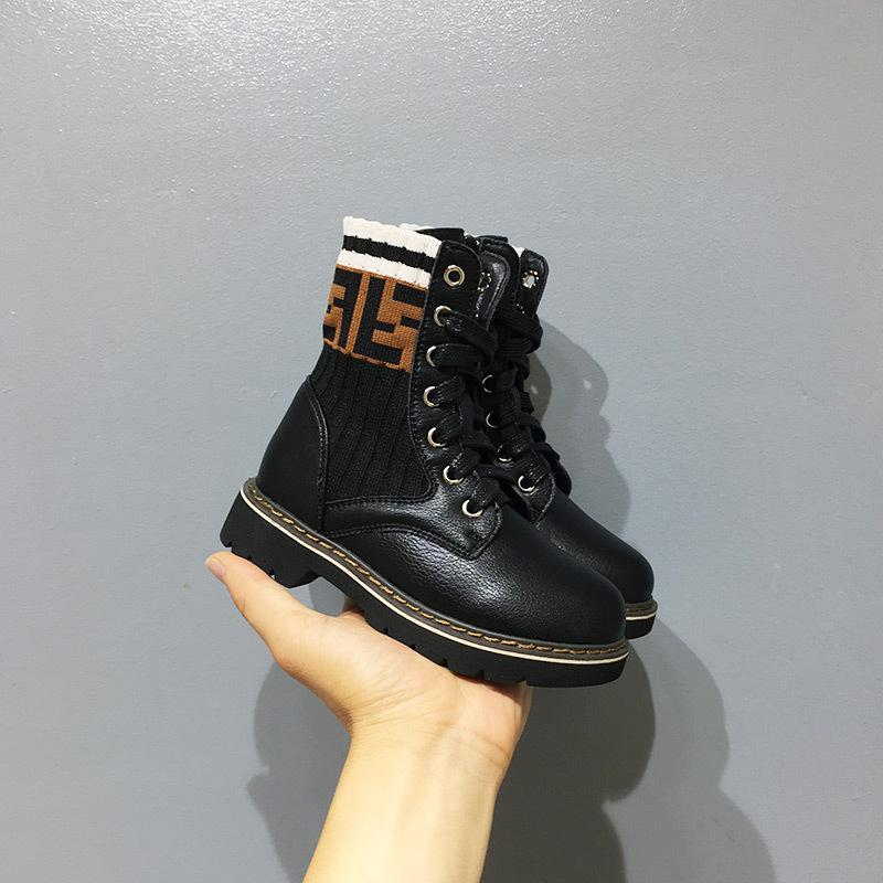 Letter High Help Children Martin Boots Fashion Boys Girl Knitting Breathable Single Boots