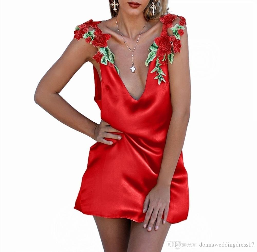 elegant gold/red satin summer dress women strap v neck short dress party 2020 backless embroidery casual dress female vestidos