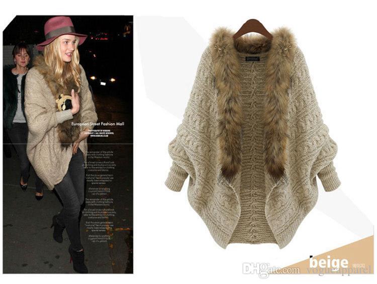 Großhandel Frauen Faux Pelz Dicke Strickjacke Beige Lange Länge Warme Pullover Frau Winter Mode Kleidung Kostenloser Versand Von Vogueapparel, $37.02