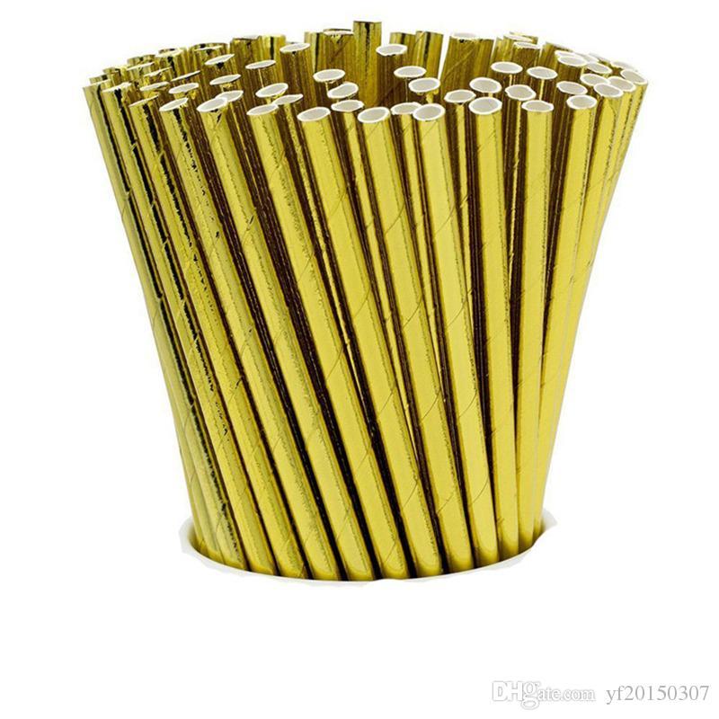 Metallic Gold Heart Star Foil Stripe Paper Pajitas Gold Foil Stripe Paper Pajas Silver Foiled Stripe Drinking Straw