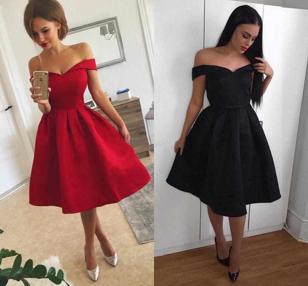 großhandel 2018 einfache rote kurze ballkleider schulterfrei rüschen satin  knielangen schwarz partykleider günstige heimkehr kleider schneller versand