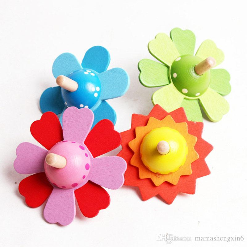 New kids Retro toys flower wooden spinning top 4 colors Children relaxation toys funy group game colorful wood peg-top