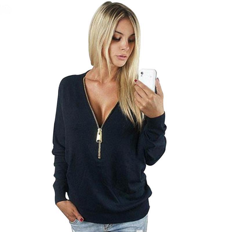 2018 봄 새 스웨터 여성 유럽 캐주얼 솔리드 컬러 여성 스웻 셔츠 슬림 지퍼 V 넥 짧은 스웨터 후드 M2388