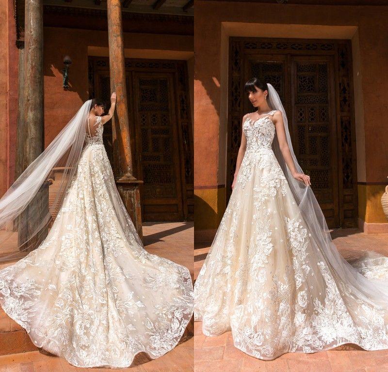 2019 Lindo Designer de Luz Champanhe Vestidos De Casamento V Neck Sheer Voltar Completa Do Laço Vestido de Noiva Custom Made Vestidos de Noiva