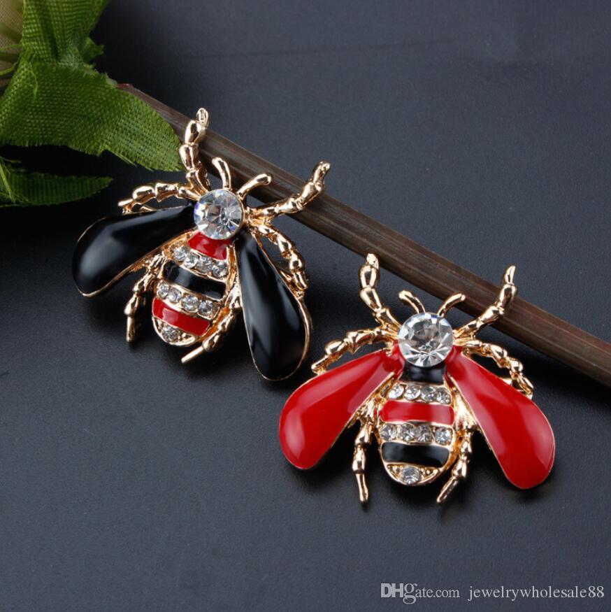 أزياء المرأة لطيف نحل حجر الراين دبابيس دبوس النفط النحل دبابيس المجوهرات هدية جديد