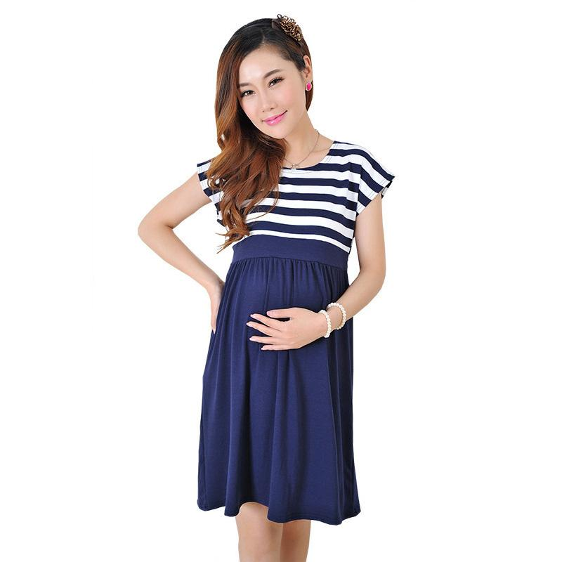 2019 Plus Size Maternity Dress New Pregnant Women\'S Dress Pure Cotton  Version Of Maternity Long Dresses Stripes Mother Home Clothes From  Paradise02, ...