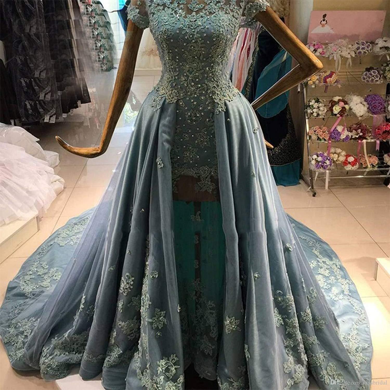 Арабские майки Вечерние платья Кружева с короткими рукавами Формальные длинные платья для выпускного вечера Illusion 3D Кружевное цветочное театрализованное платье для девочки