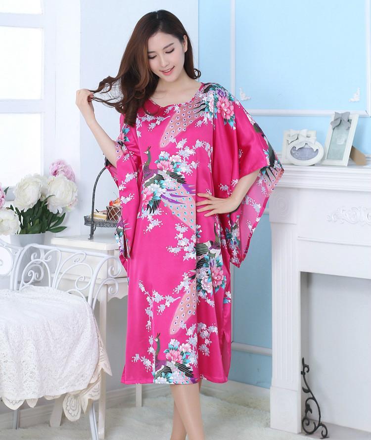 Пятно Павлин Леди ночная рубашка Vestido халаты для женщин искусственный шелк пижамы наборы китайский традиционный ночное платье кимоно 89