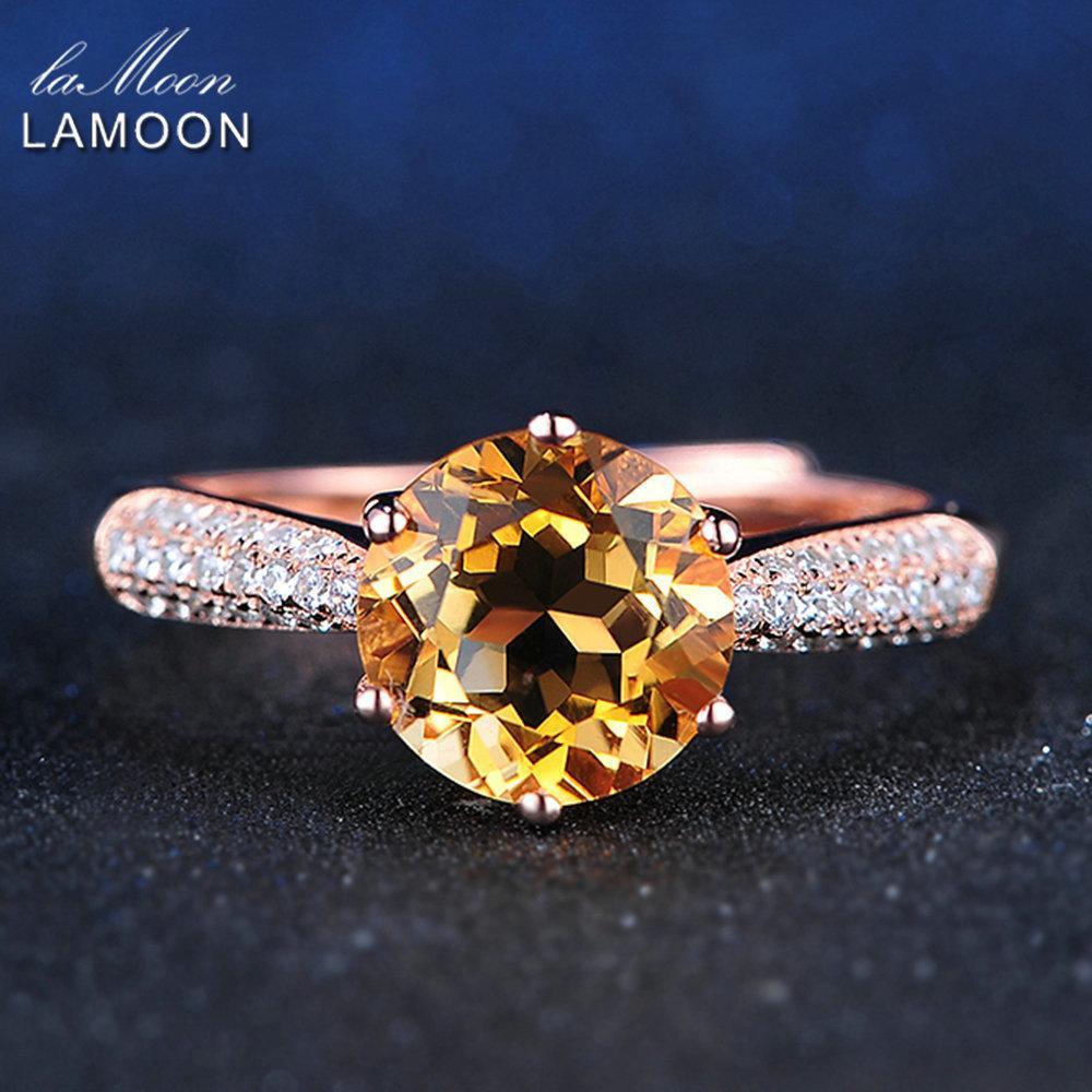 LAMOON Luxury Paviment Setting 8mm 2ct Citrine Anello in argento sterling 925 gioielli con oro rosa placcato S925 per le donne LMRI001