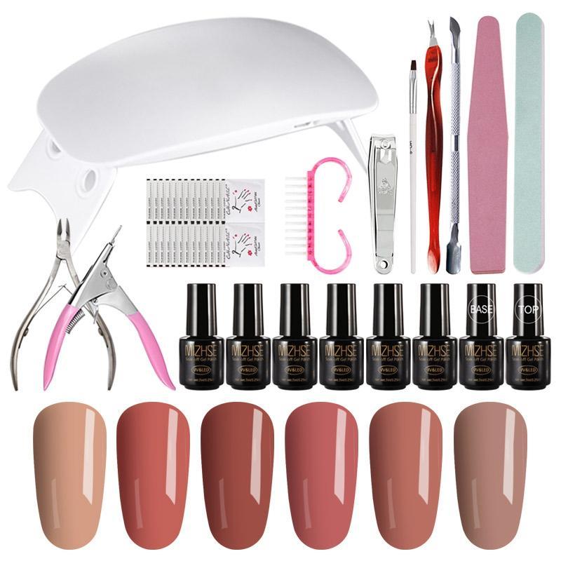Kit di strumenti per manicure MIZHSE 19Pcs / Lot Set di strumenti per unghie professionali Set 6W Kit di strumenti per asciugatura dei chiodi UV a LED 6 colori Gel Design fai da te