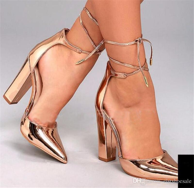 Bayanlar Seksi Moda Sivri Burun Altın Ayna Patent Deri Tıknaz Topuk Pompaları Dantel-up Ayak Bileği Kayışı Kalın Yüksek Topuklu Resmi Elbise Ayakkabı