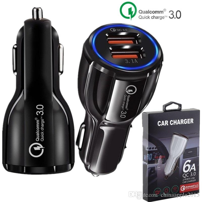 QC 3.0 Quick Car charger Dual usb ports 6A Power adapter fast adaptive car chargers for iphone 7 8 x samsung s8 note 8 gps tablet