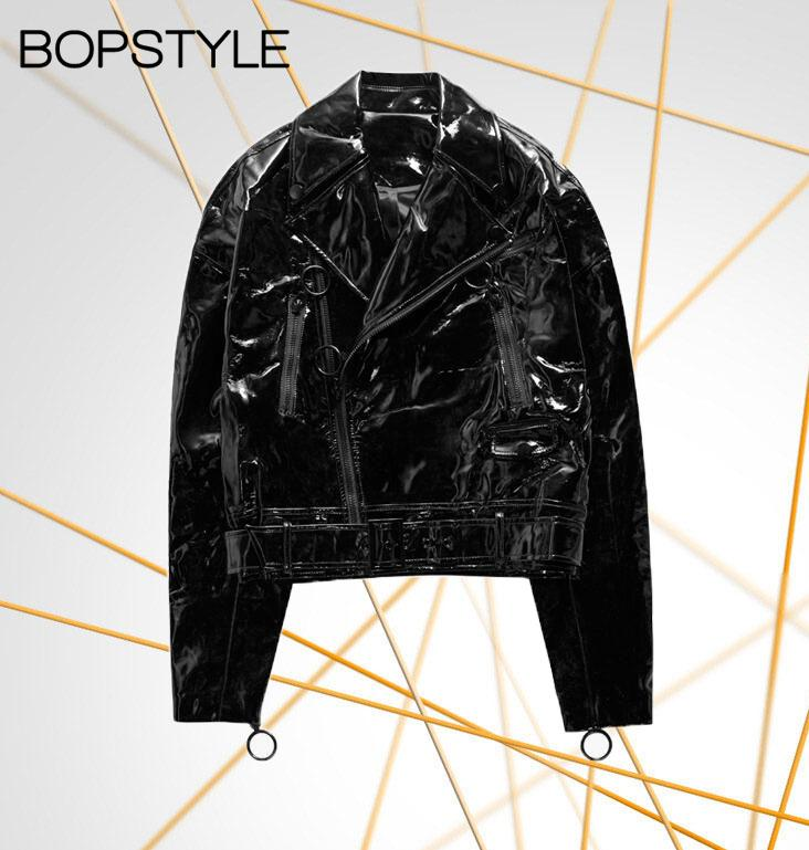 Black Zip Patent Leather Jacket Featurtes Hem With Adjustable Waist Buckle Belt - Ladies 2018 Faux Leather Jacket Top Outerwear