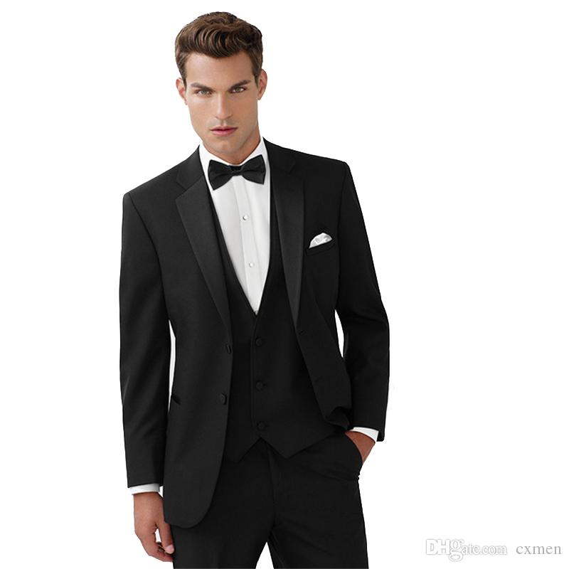 Black Men Suits for Wedding Custom Made Groom Tuxedos 3 Pieces Elegent Jacket Pants Vest Slim Fit Groomsmen Suits Best Man Blazers
