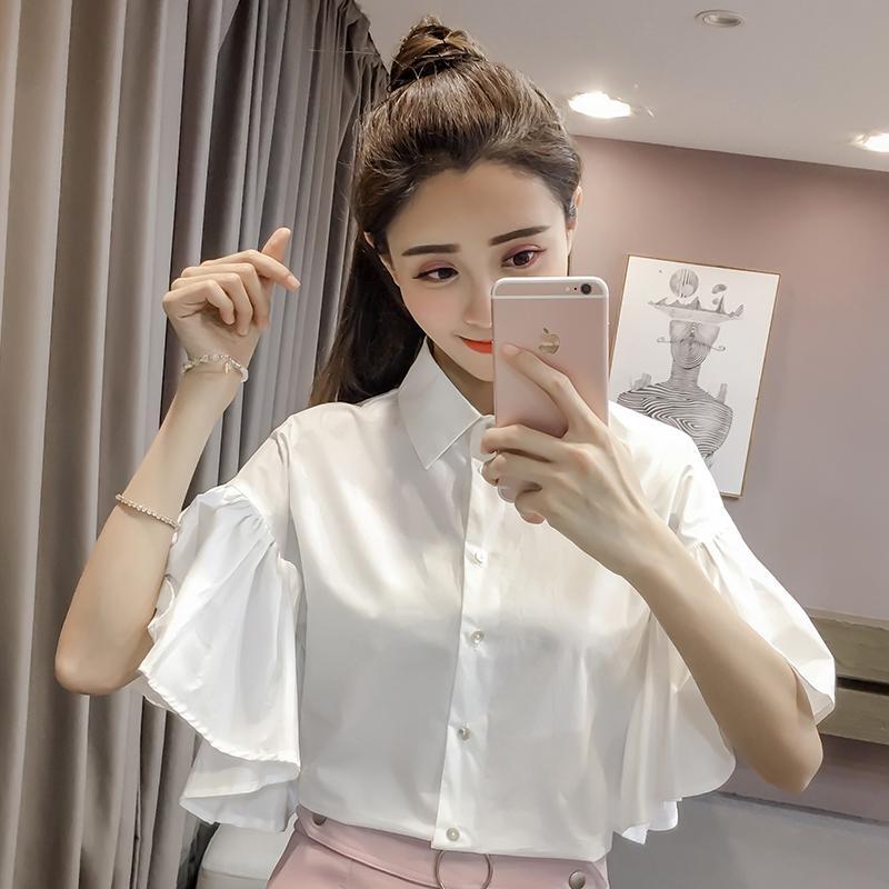2018 Новый Летний Женщины Рубашки Однобортный Короткие Свободные Твердые Поло Воротник Feifei Рукавом Блузка Рубашка Белый 593