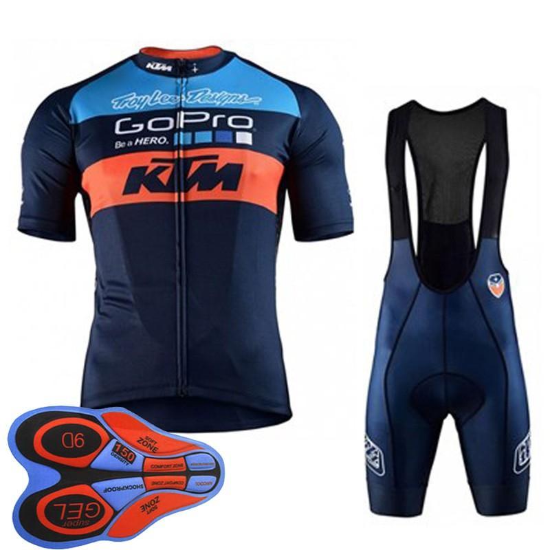 KTM Team Cycling Short Sleeves Trikot (Trägerhose) setzt einheitliche MTB Ropa Ciclismo Herren Maillot Culotte 9D Gel Pad F2004