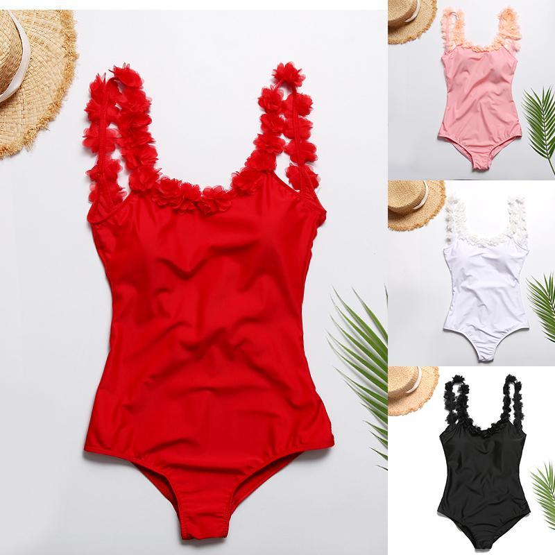 Maillot de bain une-pièce 2019 Femme Maillot de bain dos nu 3D maillot de bain sangle rembourrée maillot de bain femme haute coupe monokini