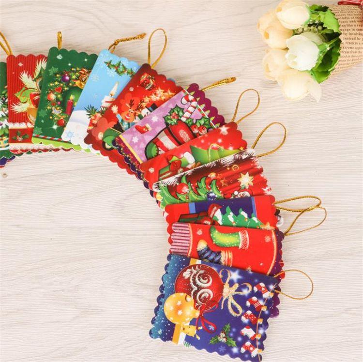Merry Christmas Wish Card Biglietto d'auguri Adesivo Ornamento Ciondolo Albero di Natale Ornamento Novità Regali I391