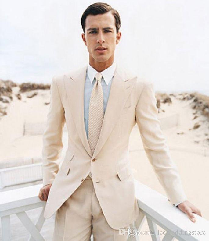 New Arrive Ivory Men Suits Custom Slim Fit Fashion Wedding Suits For Men 2 Pieces Groomsmen Tailored Tuxedo Terno Masculino (Jacket+Pants)