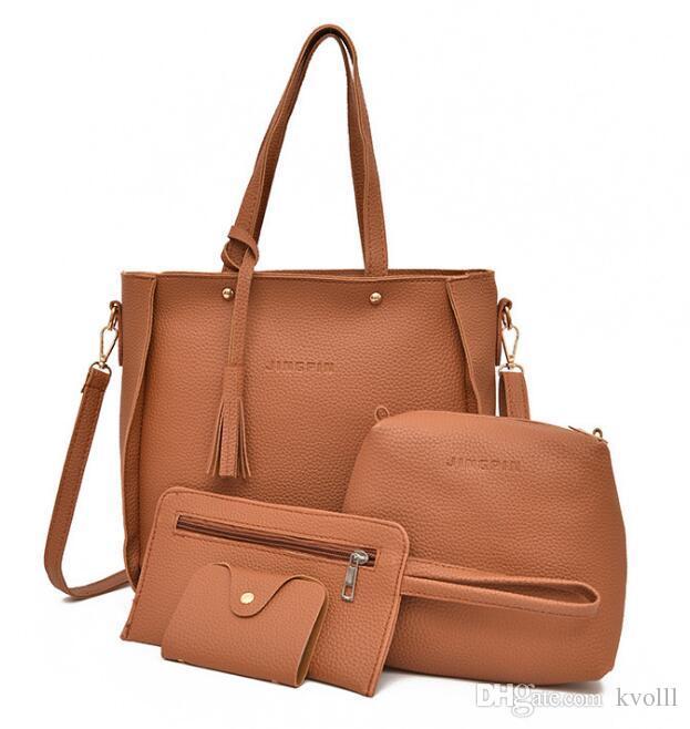 Vendita calda 4pcs / lot EUR E borse di acquisto di modo degli SUA belle borse della borsa di spalla di trucco delle donne della borsa della borsa della signora delle donne