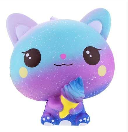Новый Радужный Мультфильм Мороженое Cat Kitty Squishy Slow Rising Cute Jumbo Ремешок Мягкий Сжатый Ароматизированный Хлеб Торт Игрушка в Подарок Kid Fun