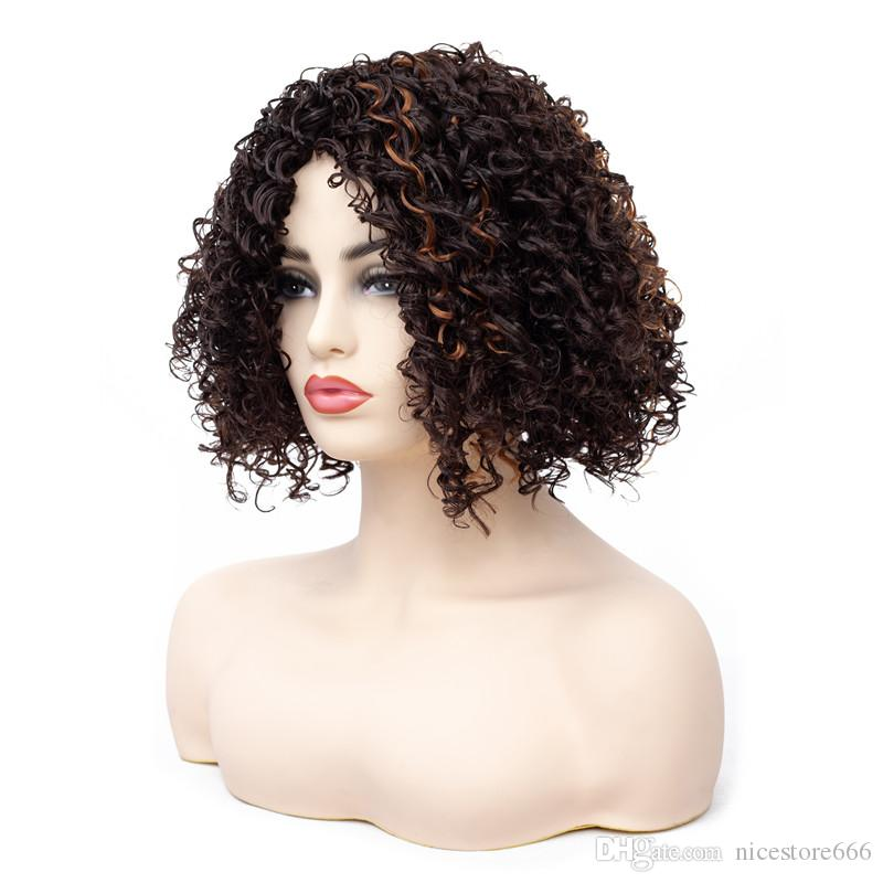 Afro Kinky Court Curly Gold Brown Perruques pour Femmes Perruques Synthétiques Afro-Américain Bangs Partielle Ombre Cheveux