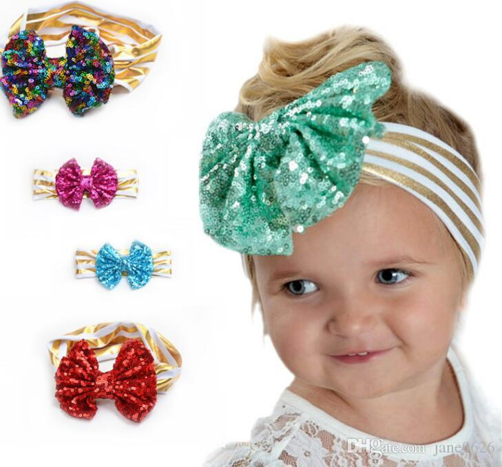 Kids Sequins in Europe and America Cute Baby Big Bow Hair Bright Leather Stripes 12 Colors