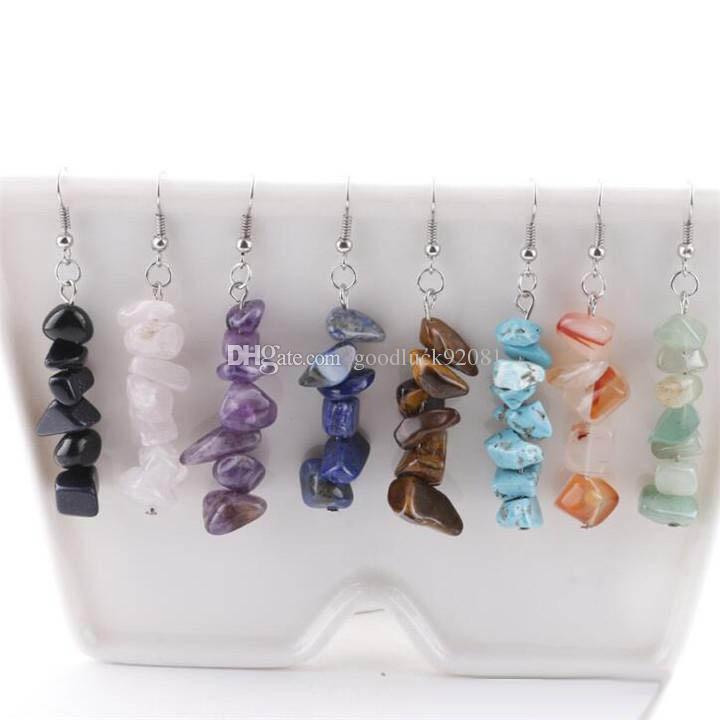 Naturel Cristal Sodalite Chip Gemstone Dangle Boucles D'oreilles Naturel Mixte Gemme Chakra Femmes Mode Bijoux Amant Cadeau