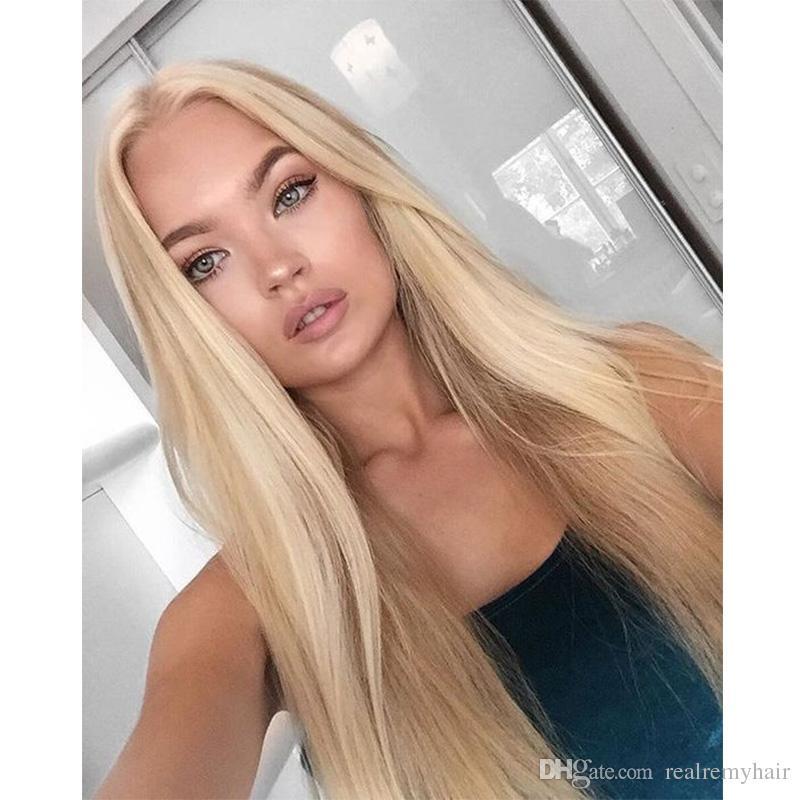 150% Плотность Перуанские Прямые Парики Фронта Шнурка Человеческих Волос Для Чернокожих Женщин 613 # Медовая Блондинка Перуанские Полные Парики Шнурка С Волосами Младенца