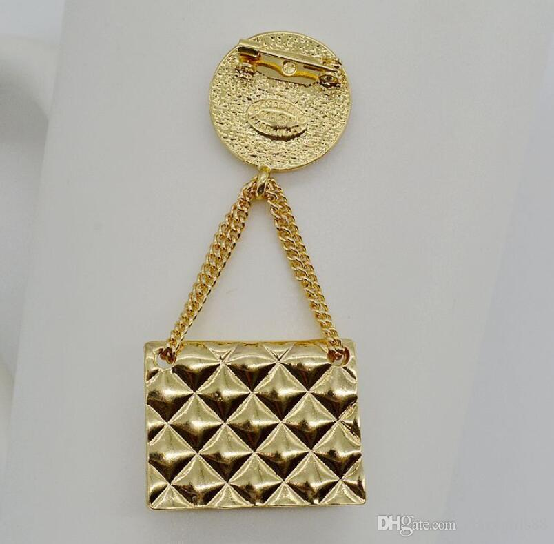 Luxury Grid Chain Bag Charm Brooch Pins Corsage Brooches Wedding Fashion Jewelry Accessory For Women Costume Decoration Wholesale