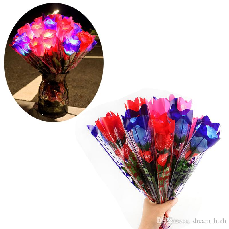 LED Glowing Rose Artificial Silk Flowers Light up Home Party Decor Wedding Christmas Bar Decoration Valentines Gift Night Market Hot Selling