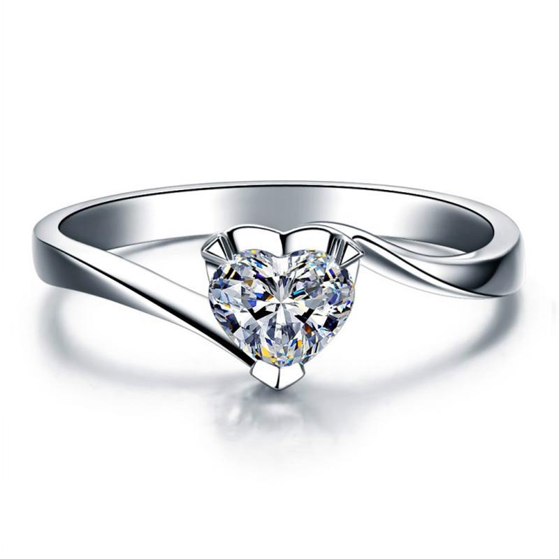 925 Sterling Silver Heart Cz Crystal Ring Women Cubic Zirconia S925 Wedding Band Ring Female Engagement Gift