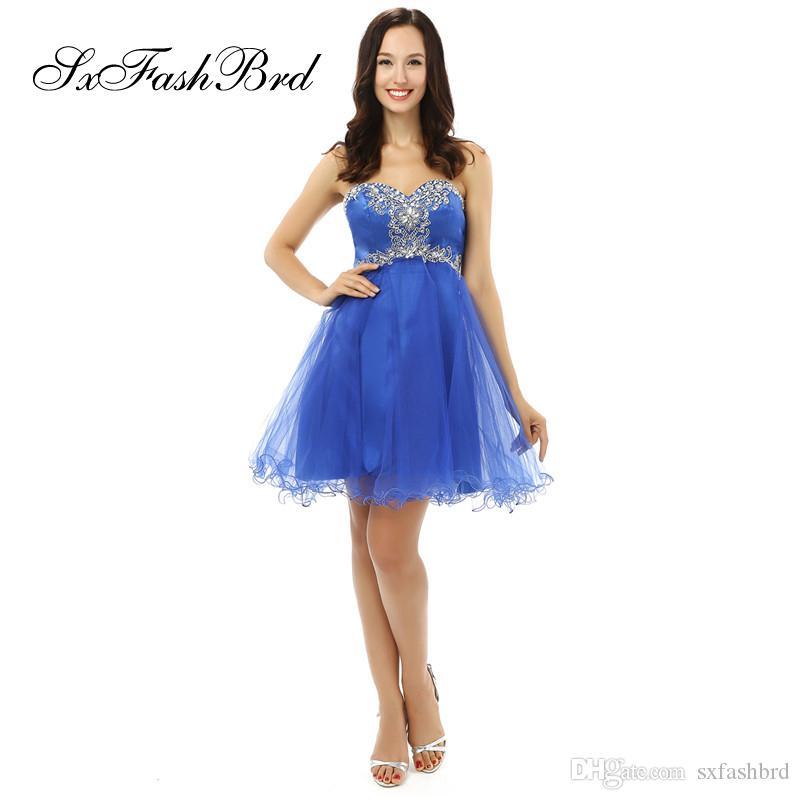 Art und Weise eleganter Schatz-Ansatz mit Kristallen eine Linie Mini kurze blaue Tulle-Partei-formale Abend-Kleider für Frauen-Abschlussball-Kleid
