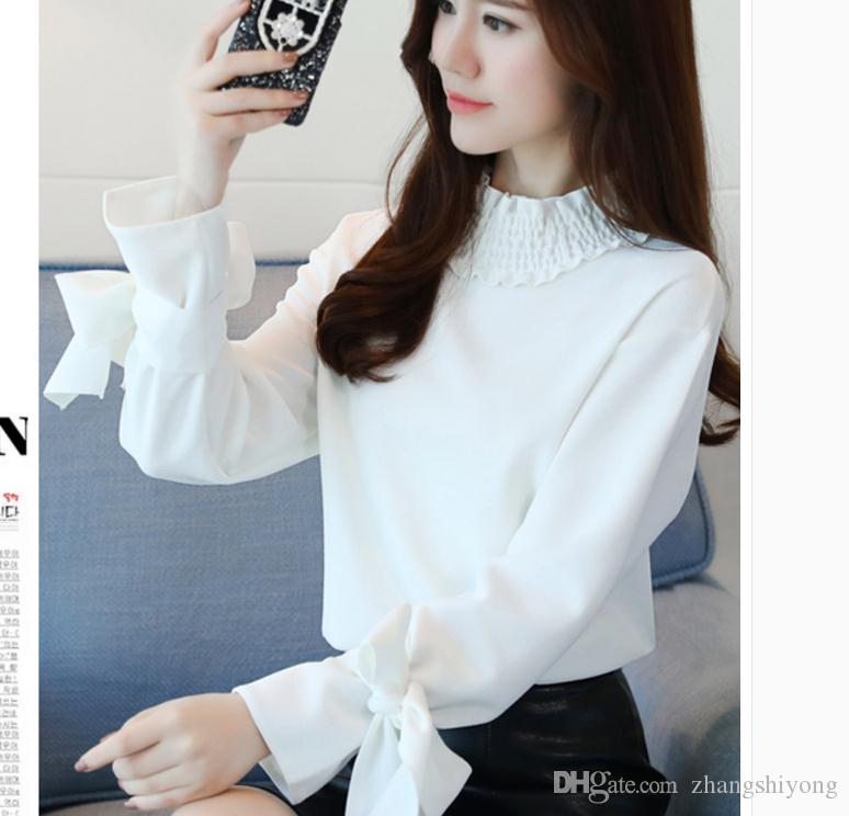 İlkbahar 2018 şifon gömlek Koreli kadın moda uzun kollu gömlek
