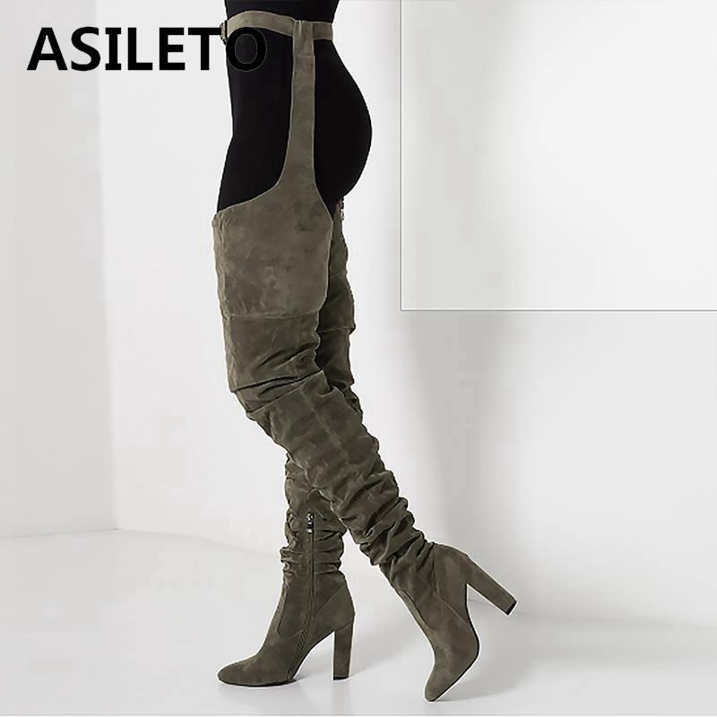 Asileto Avrupa seksi diz çizmeler üzerinde kadın ayakkabı sivri fermuar yüksek topuklu ayakkabı kadın uzun uyluk yüksek çizmeler patik