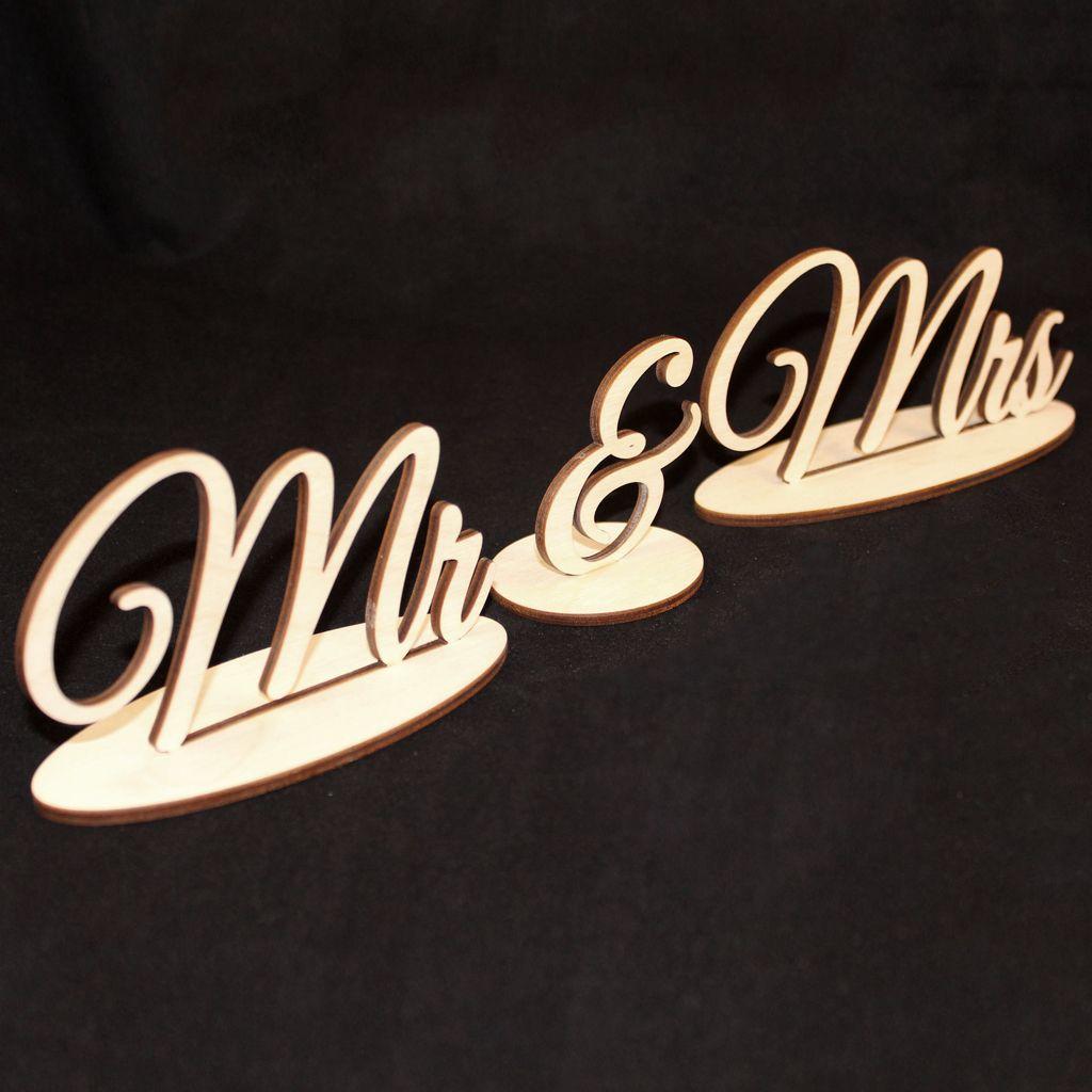 Suministros de boda de madera montaje 3D Mr Sra. Adornos regalo de madera accesorios de tiro de boda adornos decoración