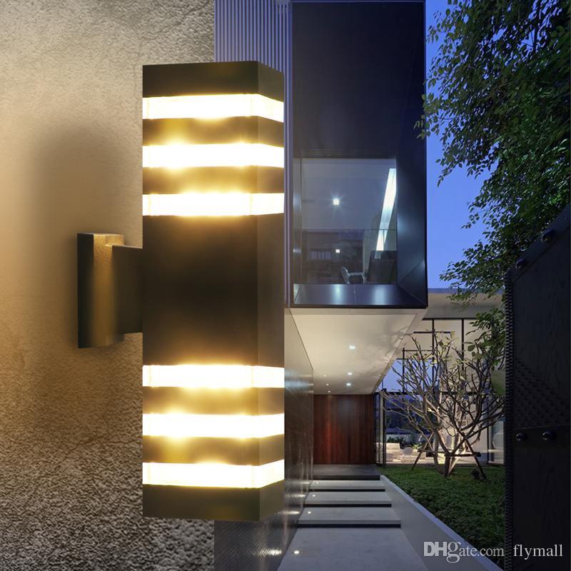 Modern Su geçirmez Yukarı Aşağı Alüminyum Dış Mekan LED Duvar Işık Fikstür Çift Kafa Duvar Lambası E27 Yard Sundurma Koridor Balkon için ampul led