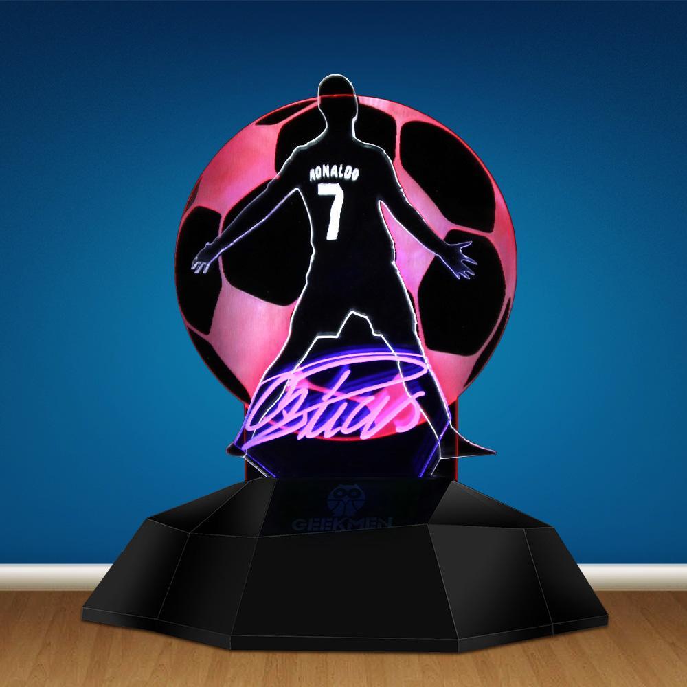 1 peça ronaloo brasil jogador de futebol 3d linha de lâmpada profissional jogador de futebol esporte 3d ilusão de óptica lâmpada de mesa de luz