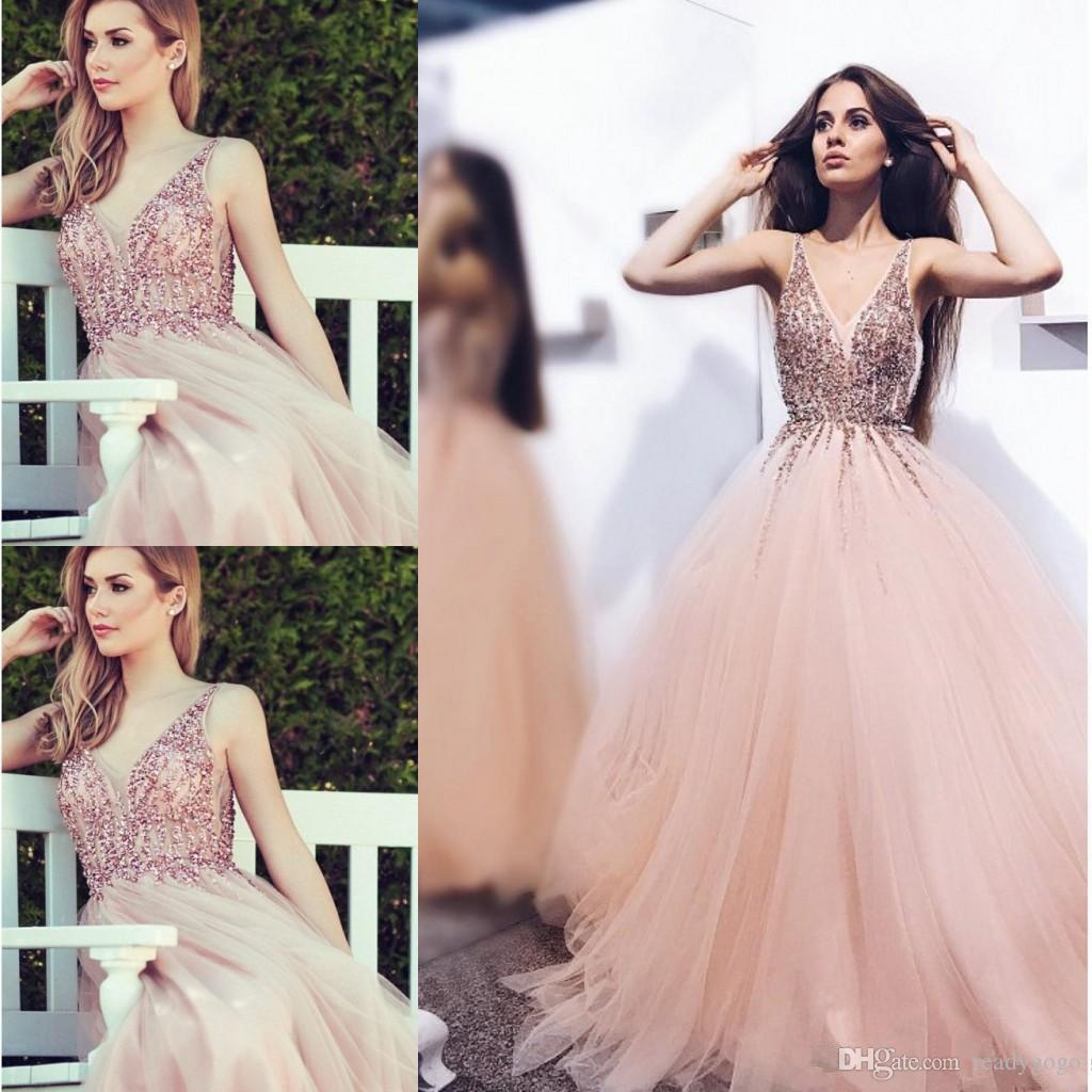 Blush Pink Crystal Prom Formal Dresses 2018 Modest Spaghetti Backless Beaded Puffy Fairy Princess Middle East Occasion Evening Gown