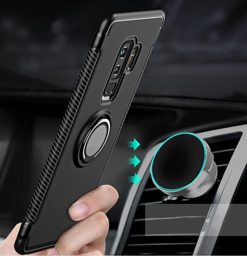 Armor Phone Case for iPhone 7 8 X 6 S 6S Plus 5 5S SE Car Holder Magnetic Ring Cover for Samsung S 9 8 7 For Huawei P20 Lite Pro Cases
