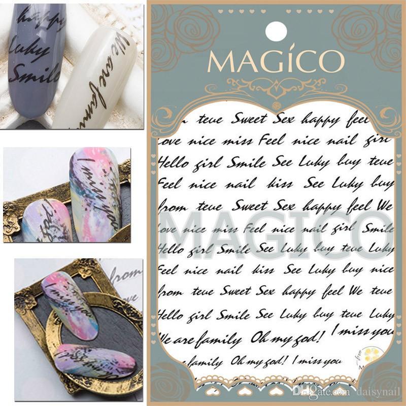 FOREVER JASMINE Black Italique English Notes de lettres Nail Art Sticker HandWriting Autocollants PARFAITEMENT journal décoration design manucure