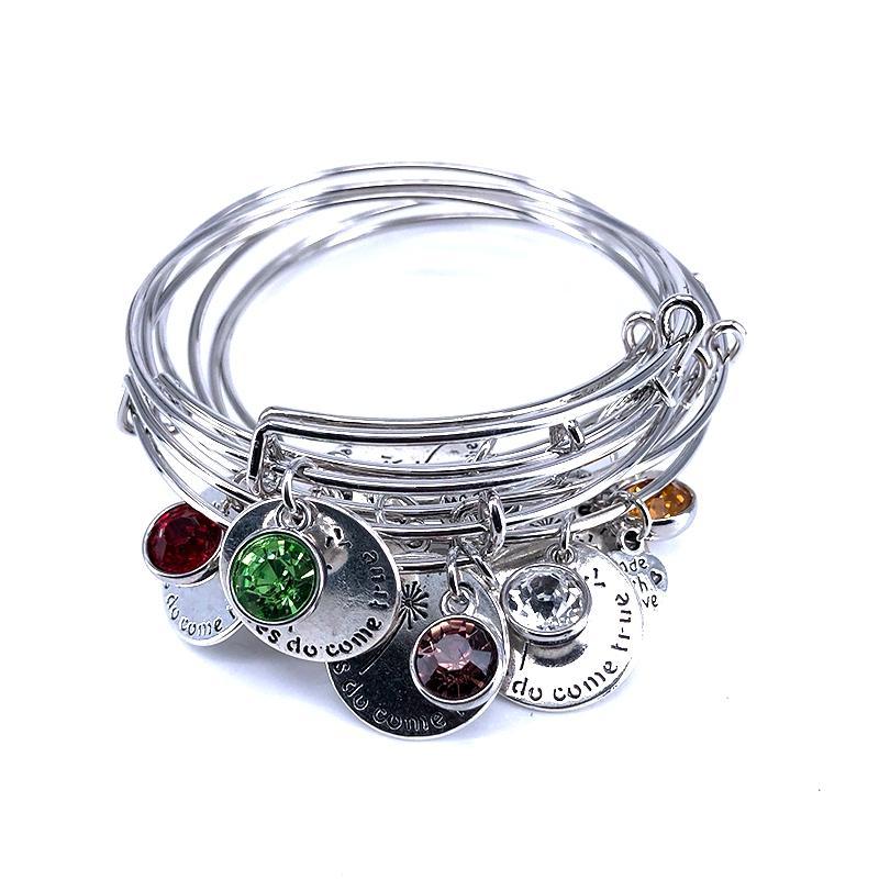 65mm réglable en acier fil bracelet pierre de naissance souhait ne vient vrai amour charme bracelet bijoux pour les femmes fille cadeau b18100