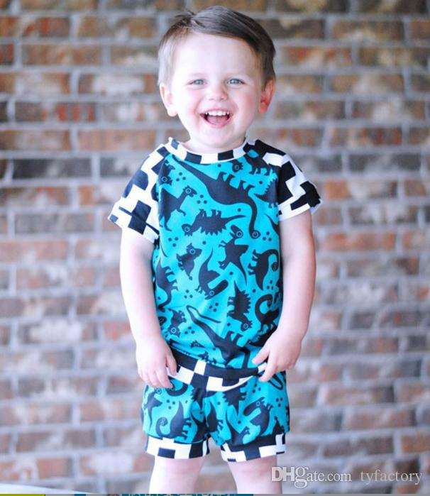 Summer Kids Boys Dinosaur Blue Clothing Tops+Short 2PCS set Cross Pattern Infant Baby Casual Clothes Toddler Summer Kids Sportswear