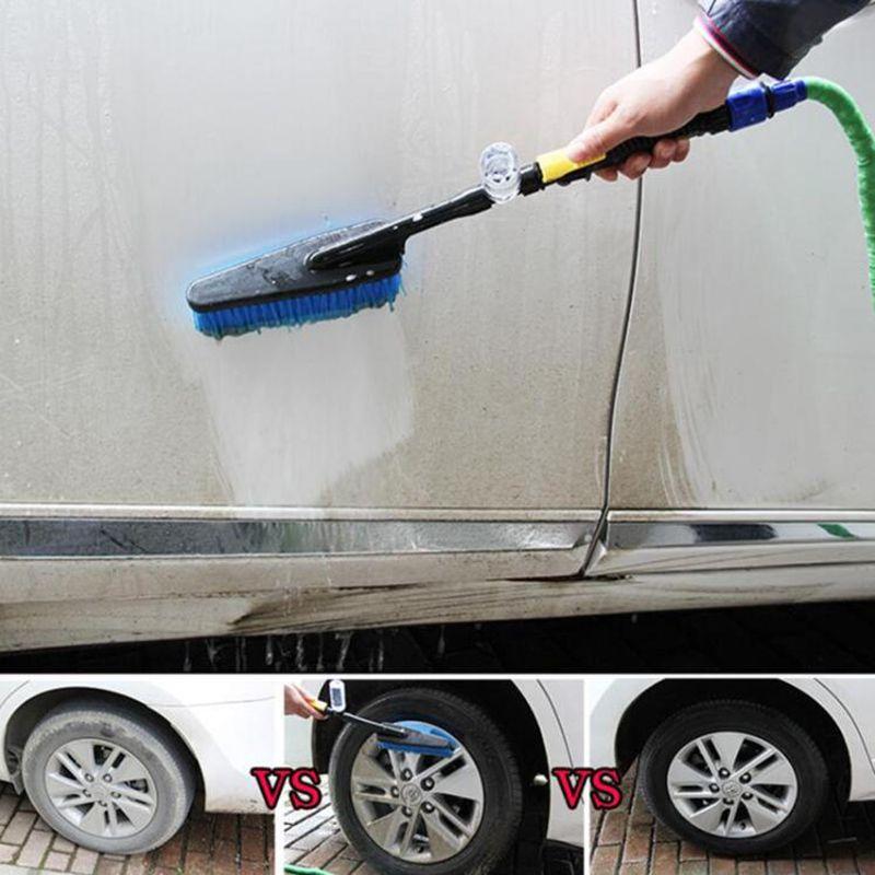 Cepillo de lavado de coches Auto Exterior retráctil mango largo Interruptor de flujo de agua Botella de espuma Cepillo de limpieza del coche
