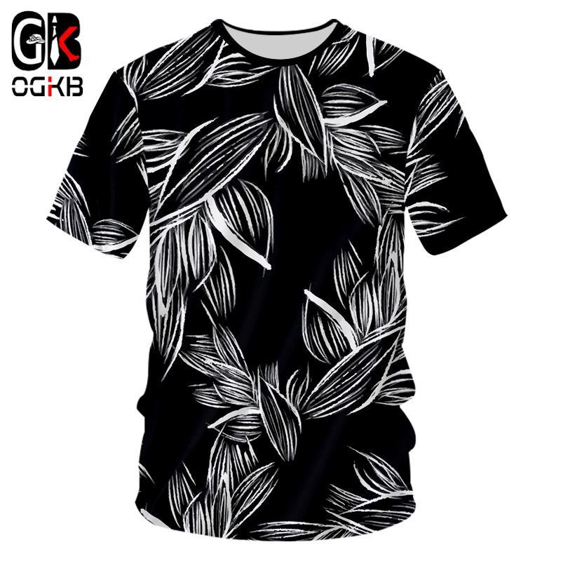 OGKB Sıcak Tarzı Yapraklar Bitki Orman 3d Baskı Tee Kısa Kollu O Boyun T-shirt Adam / kadın T Shirt Yaz Nedensel Harajuku Unisex Tops