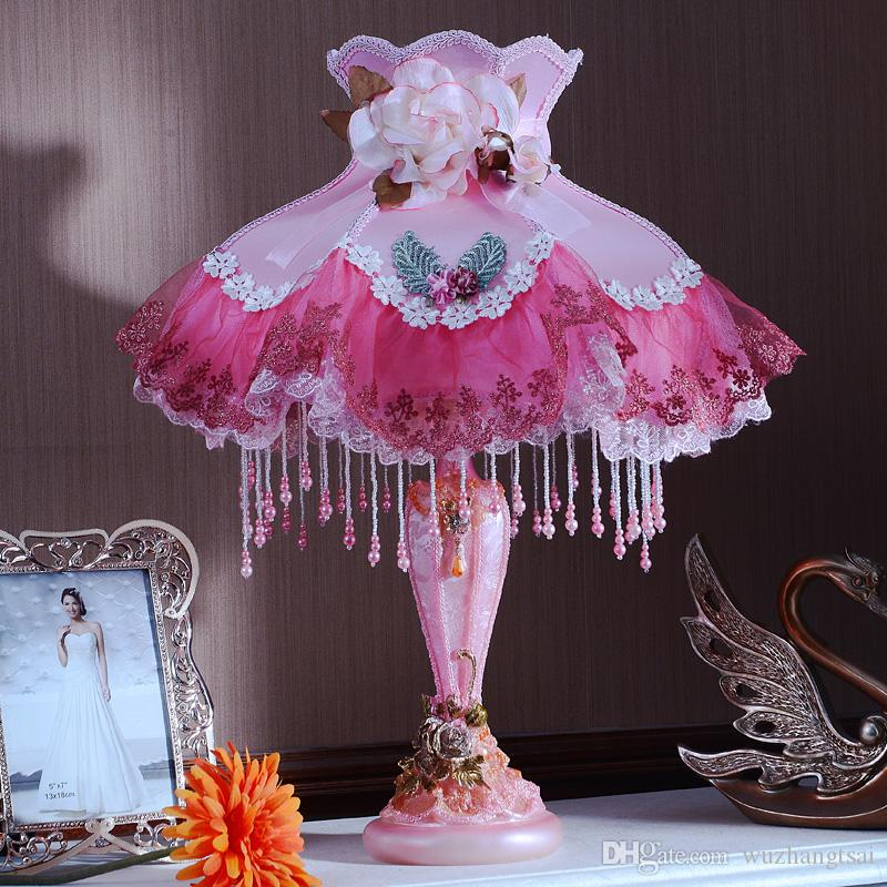 Colorful Princess big table lamp light cute big gift Europe with flower lamp shade table light lamp for bed living room bedroom