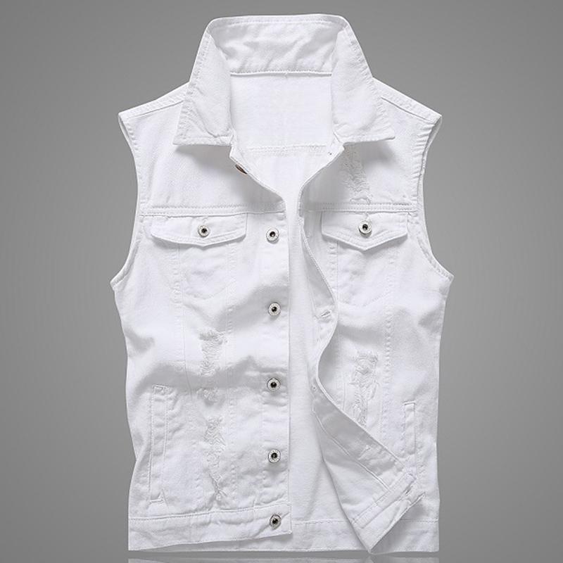 Hole Denim Waistcoat Men White Jeans Vest Solid Rock Vests For Men Fashions Summer Sleeveless Jacket 5xl Punk Biker Ripped