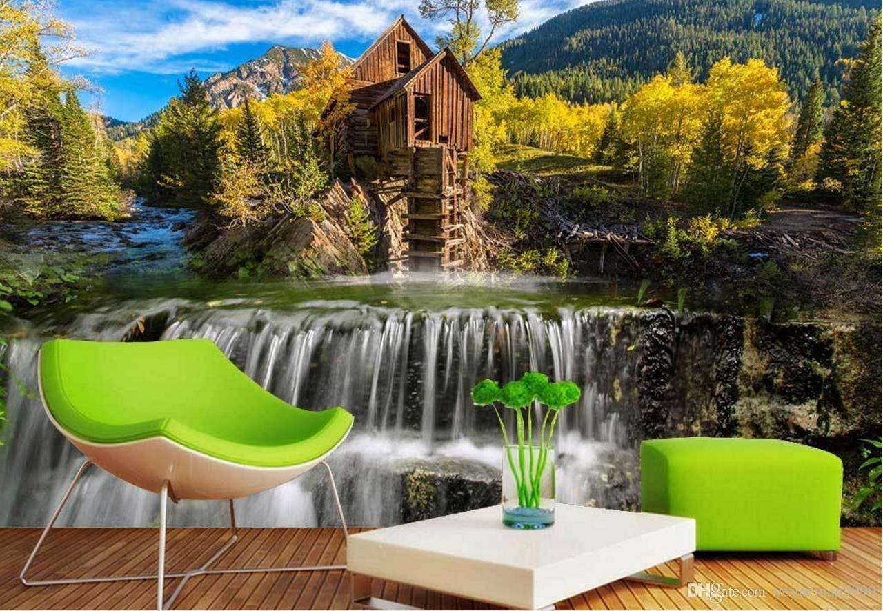 Carta da parati personalizzata per pareti 3 d Foresta sole wallpaper 3d Cascata, cielo blu soggiorno muro murales TV sfondo papel de parede 3d