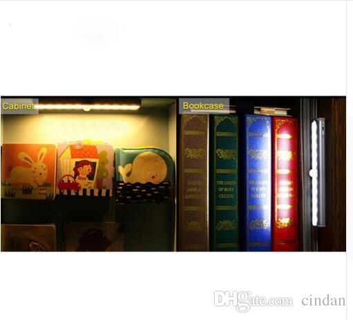 휴대용 LED에서 캐비닛 빛 모션 센서 옷장 벽 램프 강성 스트립 바 빛 부엌 옷장 비상 야간 조명