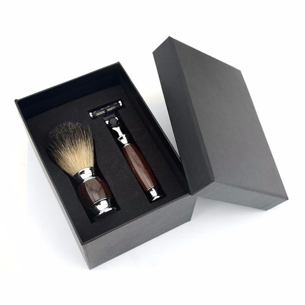 Economic 2pcs/set 3 Layers Classic Safety Razor Kits Mens Badger Shaving Brush Set +Gift Box
